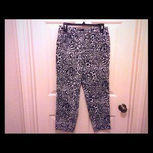 New Rafaela 6 Petite black white print Capri pants